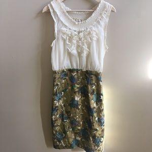 Anthropologie- NWOT floral & metallic dress, sz 6
